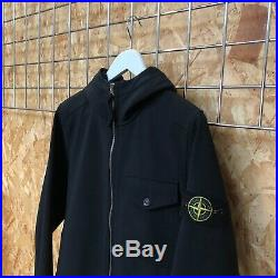£475 Stone Island Soft Shell hooded bomber jacket black S SMALL