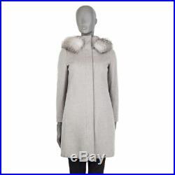 54934 auth LORO PIANA grey cashmere & FOX FUR Hooded Coat Jacket 38 XS