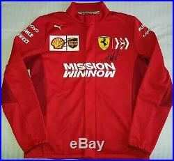 Charles Leclerc S Vettel signed Puma Ferrari F1 softshell jacket large Formula 1