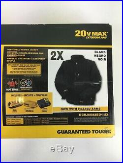 DeWalt DCHJ060ABD1-2X 20V Black Soft Shell Heated Jacket with Battery Kit 2X New