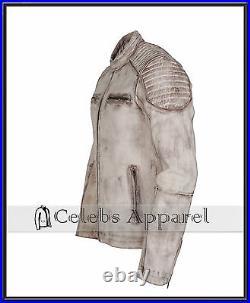 Designer Casual White Antique Waxed Vintage Biker Mens Leather Jacket