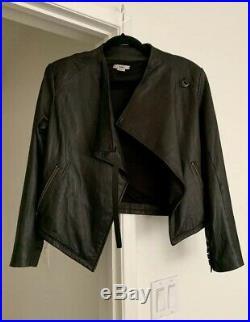 HELMUT LANG Asymmetric Lamb Leather Jacket Sz Large