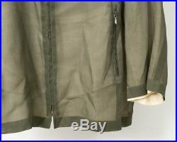 Jil Sander Women's Sheer Double Layer Olive Green Zippered Light Jacket Size 36