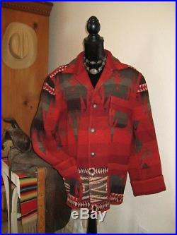 L USA sz14 Ralph LAUREN Women COAT Jacket WOOL Aztec SOUTHWESTERN Vtg INDIAN men