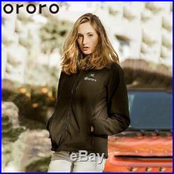 ORORO Women Heated Jacket Winter Outdoor Warm Battery Coats Slim Fit Black