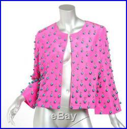 OSCAR DE LA RENTA Womens Fuschia Silk Beaded Fringe Open Front Jacket Coat 8 NEW