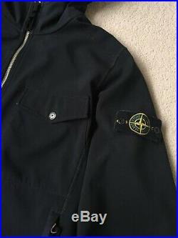STONE ISLAND SOFT SHELL-R HOODED JACKET Coat Mens Size Large Black